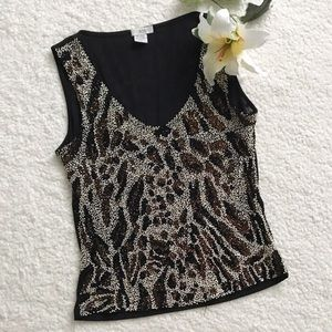 Cache Beaded Animal Print Tank Top Blouse